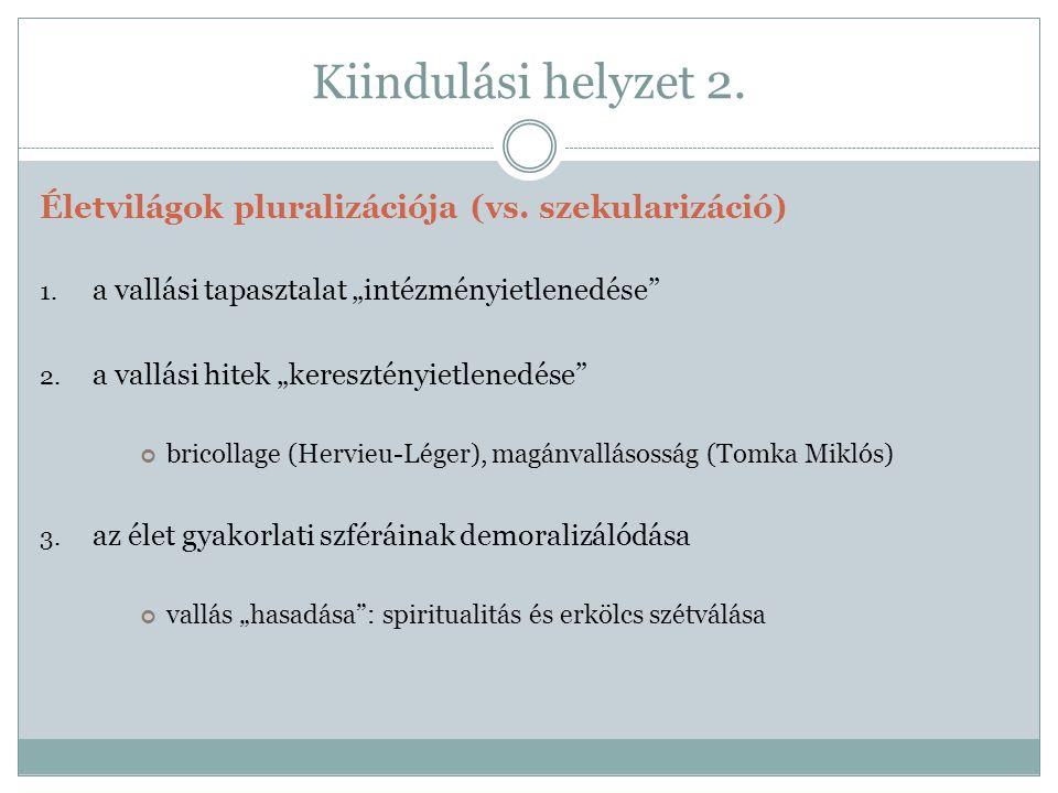 Kiindulási helyzet 2. Életvilágok pluralizációja (vs.