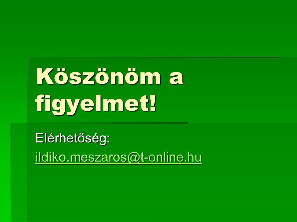 Köszönöm a figyelmet! Elérhetőség: ildiko.meszaros@t-online.hu