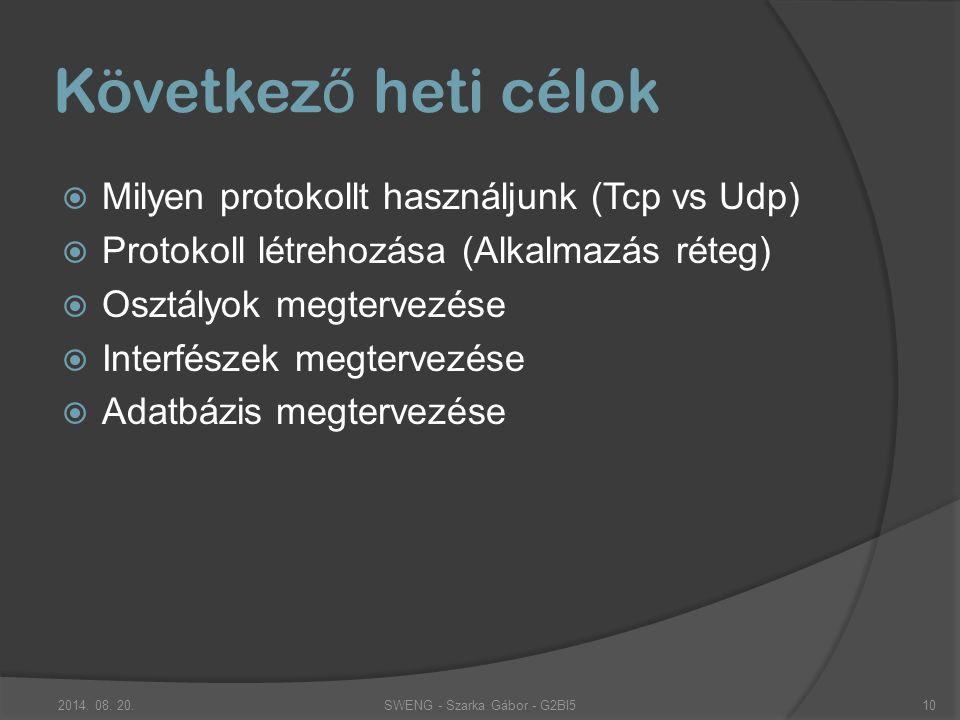 Következ ő heti célok  Milyen protokollt használjunk (Tcp vs Udp)  Protokoll létrehozása (Alkalmazás réteg)  Osztályok megtervezése  Interfészek megtervezése  Adatbázis megtervezése SWENG - Szarka Gábor - G2BI52014.