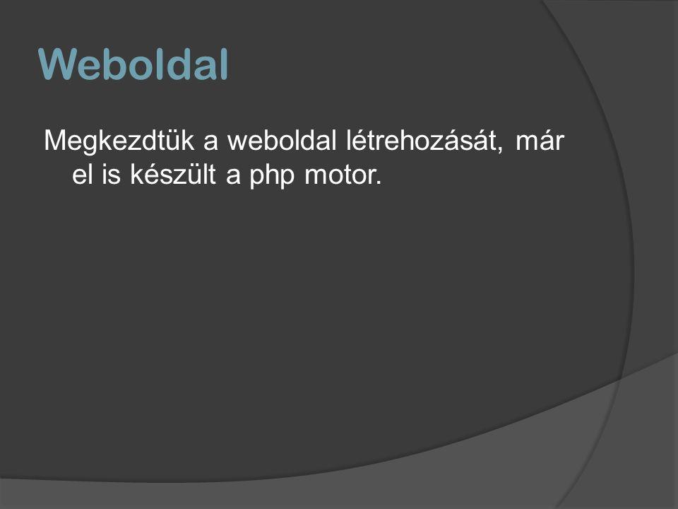 Weboldal Megkezdtük a weboldal létrehozását, már el is készült a php motor.
