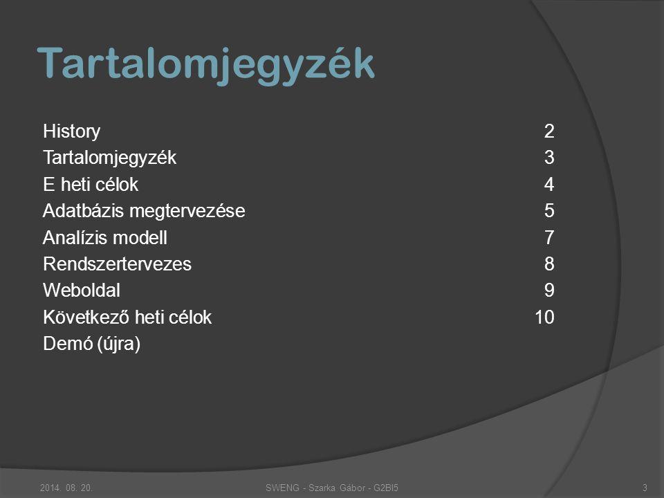 Tartalomjegyzék History2 Tartalomjegyzék 3 E heti célok 4 Adatbázis megtervezése5 Analízis modell7 Rendszertervezes8 Weboldal9 Következő heti célok10 Demó (újra) 2014.