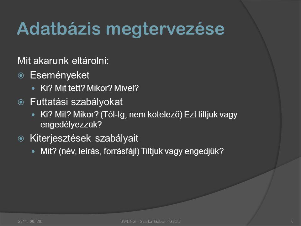 Adatbázis megtervezése Mit akarunk eltárolni:  Eseményeket Ki.