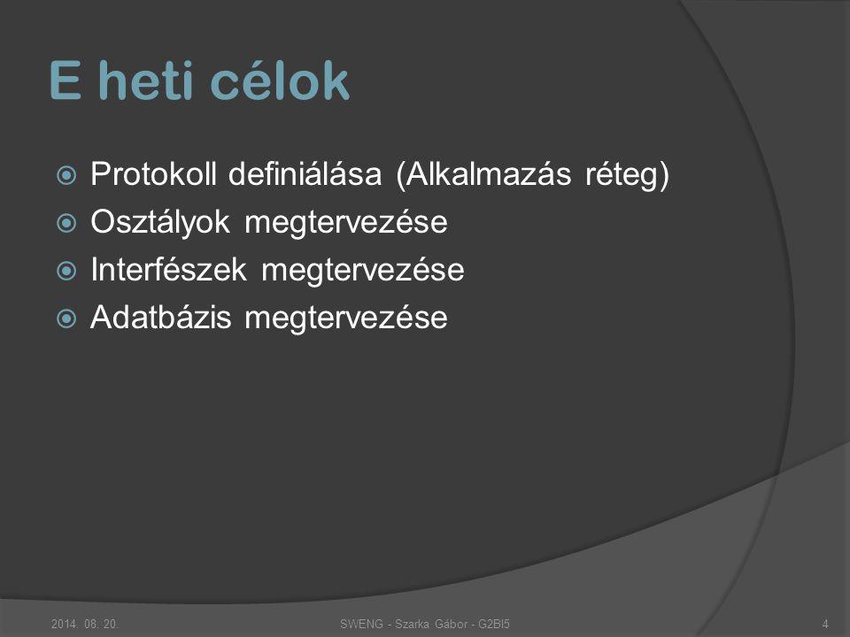 Protokoll definiálása (Alkalmazás réteg) Követelmények  Hálózati protokoll -> egy jelzés egy csomagban  Rekord jellegű, ahol a mezőket valami elválasztja  Azonosítsa a küldő processzt  Parancssor jelleggel lehessen paramétereket átadni  Könnyen tanulható legyen (logikus) SWENG - Szarka Gábor - G2BI52014.