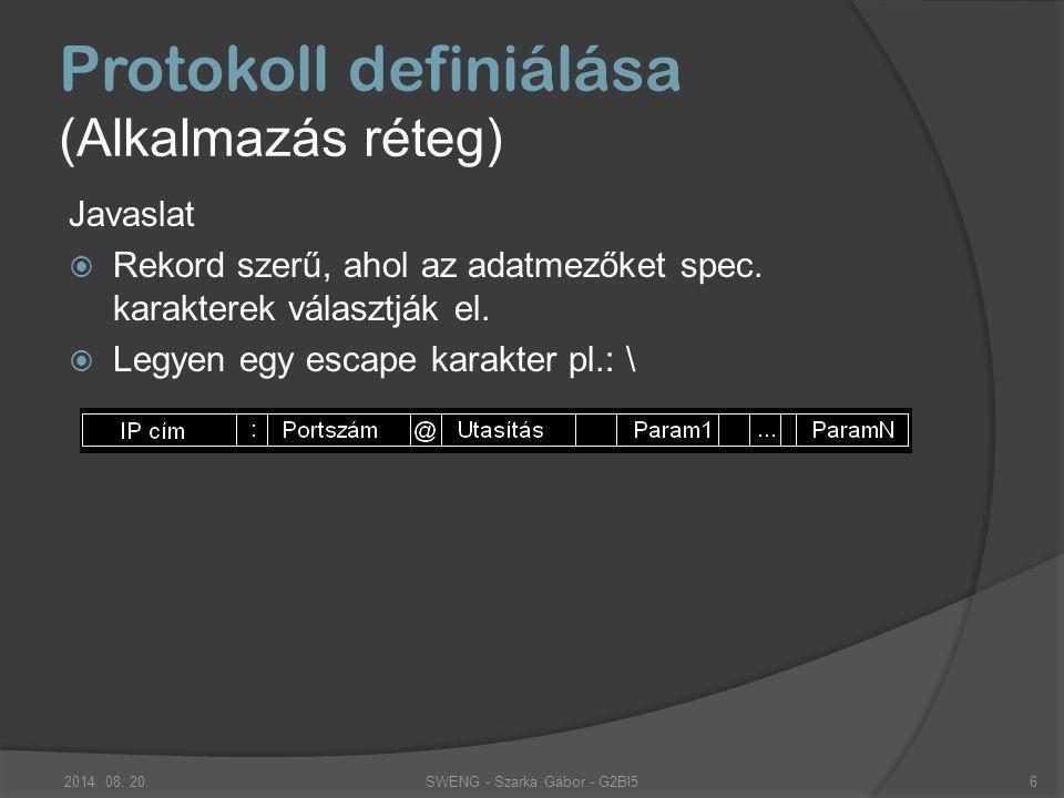 """Protokoll definiálása (Alkalmazás réteg) Mit jelent """"utasítás :  Beépített parancs: Kiterjesztések kell kapcsolatos: Info, add, deny Kapcsolat feltartó: pl.: Ping, Pong,  Kiterjesztés: SWENG - Szarka Gábor - G2BI52014."""