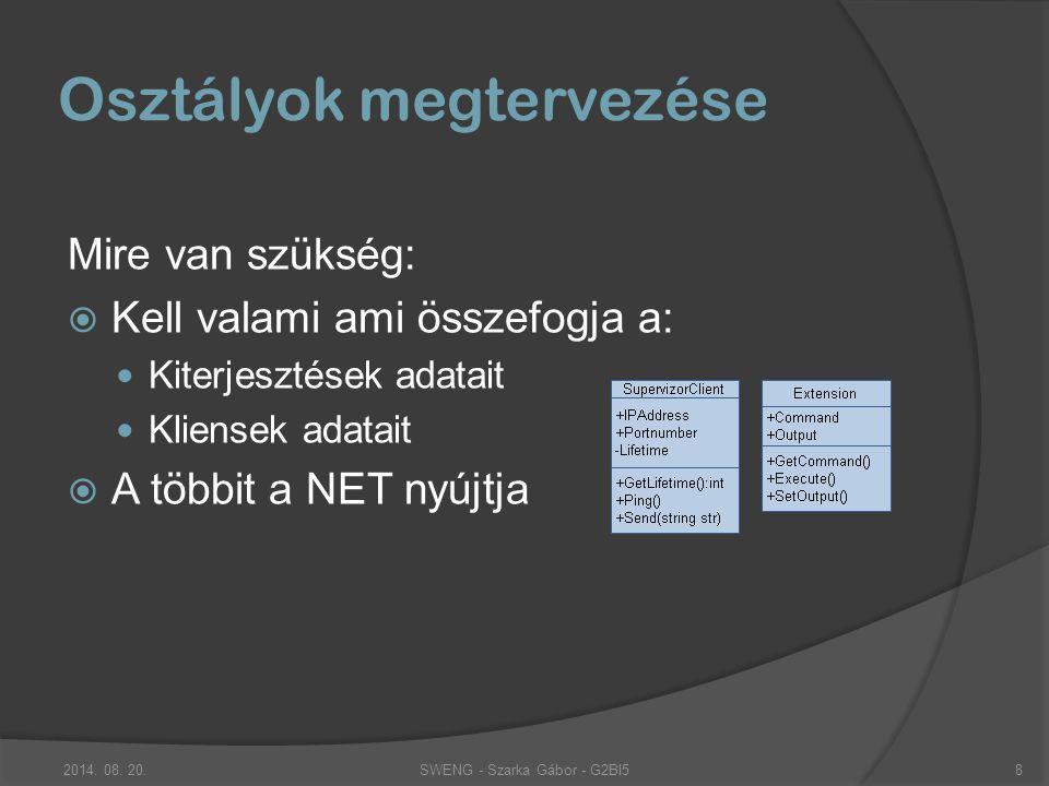 Mire van szükség:  Kell valami ami összefogja a: Kiterjesztések adatait Kliensek adatait  A többit a NET nyújtja Osztályok megtervezése SWENG - Szarka Gábor - G2BI52014.