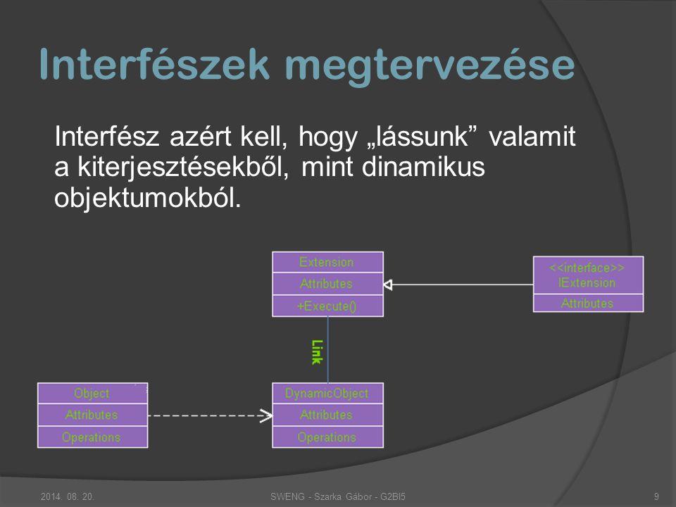 """Interfészek megtervezése Interfész azért kell, hogy """"lássunk valamit a kiterjesztésekből, mint dinamikus objektumokból."""