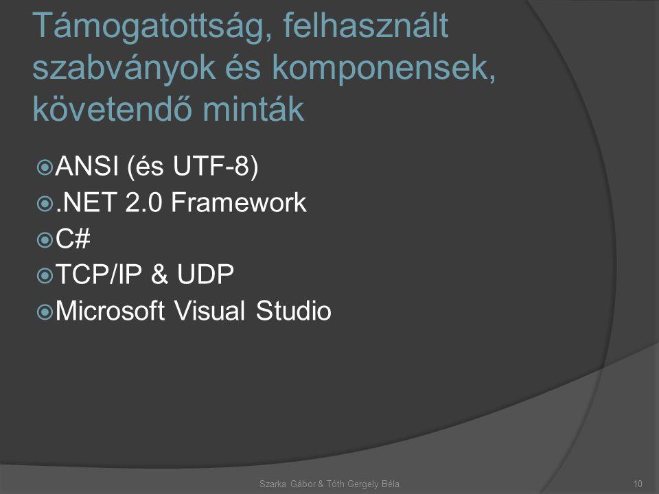 Támogatottság, felhasznált szabványok és komponensek, követendő minták Szarka Gábor & Tóth Gergely Béla10  ANSI (és UTF-8) .NET 2.0 Framework  C#  TCP/IP & UDP  Microsoft Visual Studio