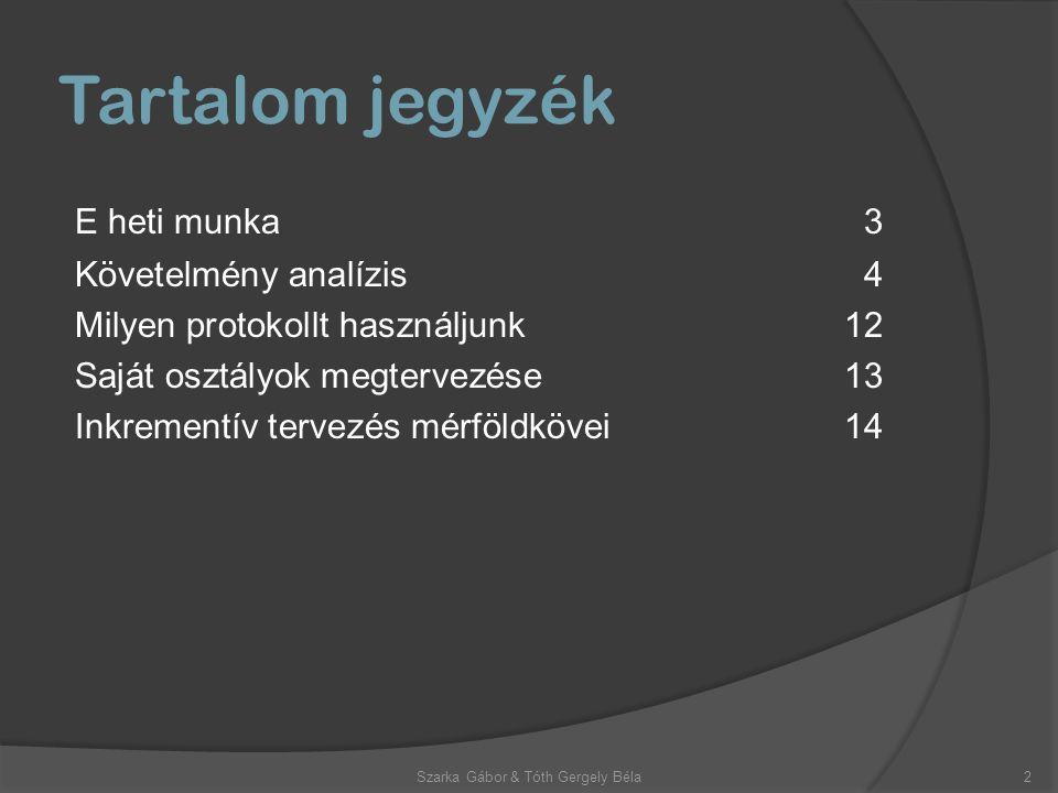 Tartalom jegyzék E heti munka3 Követelmény analízis4 Milyen protokollt használjunk12 Saját osztályok megtervezése13 Inkrementív tervezés mérföldkövei14 2Szarka Gábor & Tóth Gergely Béla