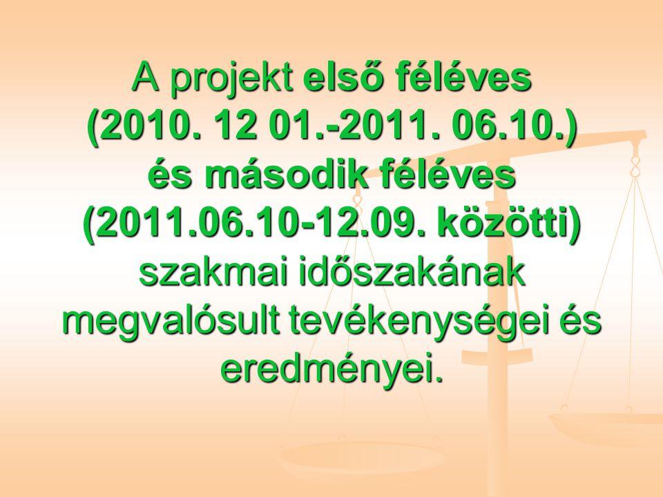 A projekt első féléves (2010. 12 01.-2011. 06.10.) és második féléves (2011.06.10-12.09.