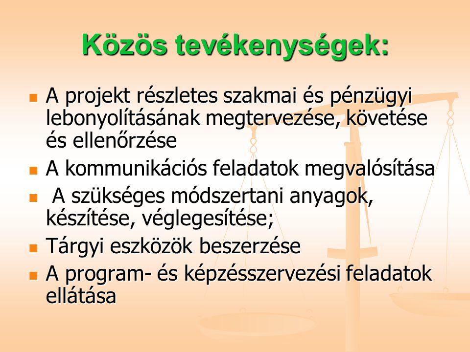 Közös tevékenységek: A projekt részletes szakmai és pénzügyi lebonyolításának megtervezése, követése és ellenőrzése A projekt részletes szakmai és pénzügyi lebonyolításának megtervezése, követése és ellenőrzése A kommunikációs feladatok megvalósítása A kommunikációs feladatok megvalósítása A szükséges módszertani anyagok, készítése, véglegesítése; A szükséges módszertani anyagok, készítése, véglegesítése; Tárgyi eszközök beszerzése Tárgyi eszközök beszerzése A program- és képzésszervezési feladatok ellátása A program- és képzésszervezési feladatok ellátása