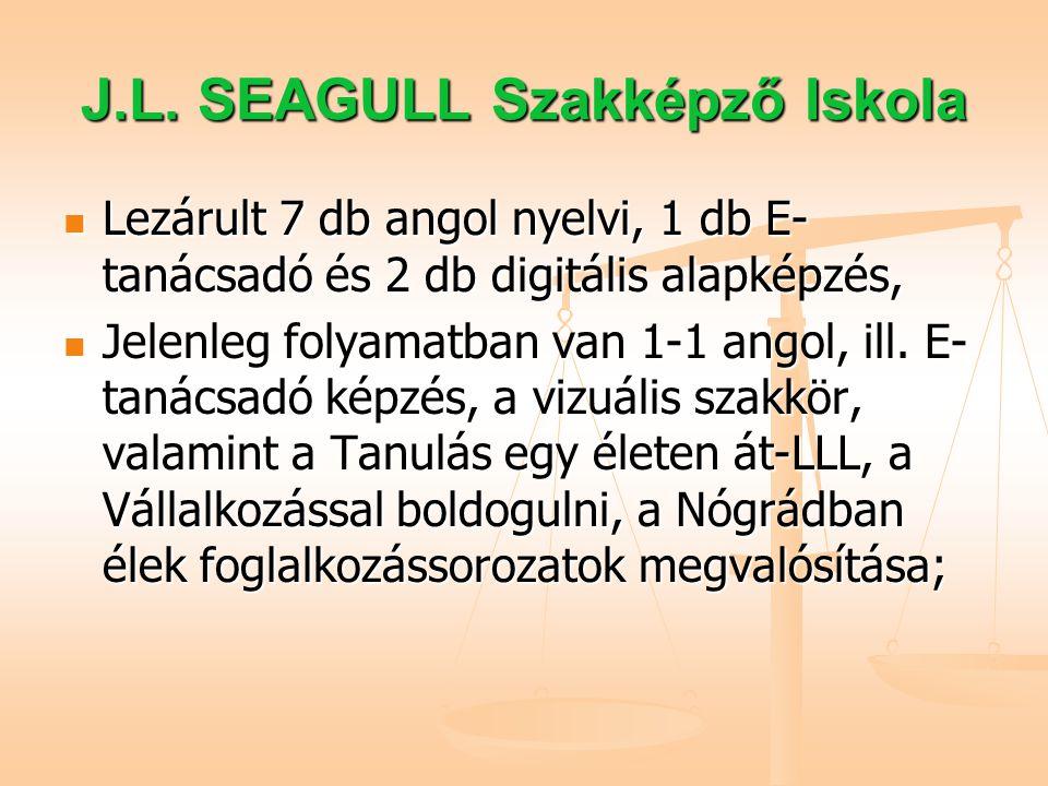 J.L. SEAGULL Szakképző Iskola Lezárult 7 db angol nyelvi, 1 db E- tanácsadó és 2 db digitális alapképzés, Lezárult 7 db angol nyelvi, 1 db E- tanácsad