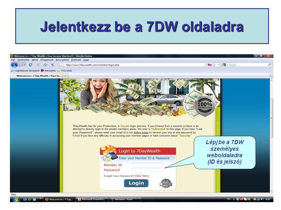 Jelentkezz be a 7DW oldaladra Lépj be a 7DW személyes weboldaladra (ID és jelszó)