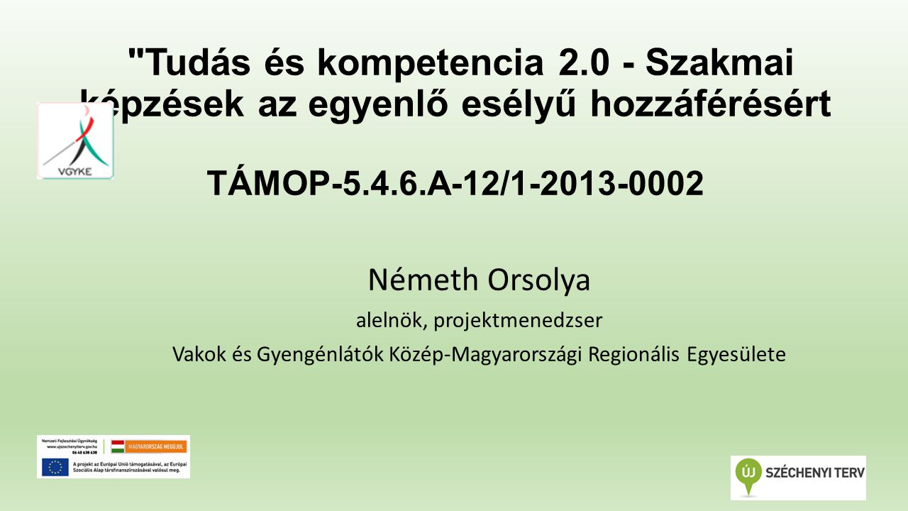 Tudás és kompetencia 2.0 - Szakmai képzések az egyenlő esélyű hozzáférésért TÁMOP-5.4.6.A-12/1-2013-0002 Németh Orsolya alelnök, projektmenedzser Vakok és Gyengénlátók Közép-Magyarországi Regionális Egyesülete