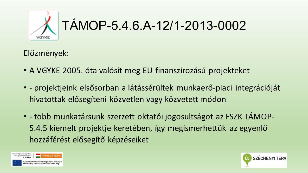 TÁMOP-5.4.6.A-12/1-2013-0002 A pályázat: TÁMOP-5.4.6.A-12/1 - A fizikai és infókommunikációs akadálymentesítés szakmai tudásának elterjesztése és hozzáférhető szolgáltatások fejlesztése a Közép-Magyarországi régióban 2013.