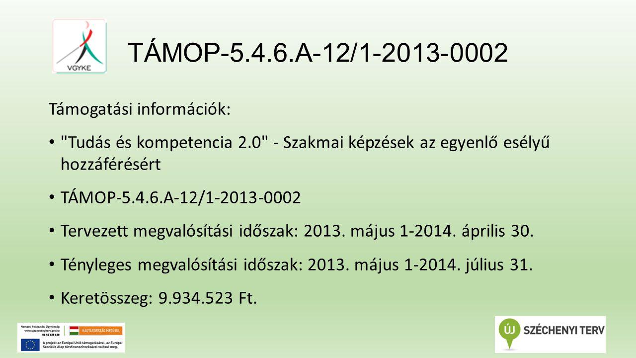TÁMOP-5.4.6.A-12/1-2013-0002 Támogatási információk: Tudás és kompetencia 2.0 - Szakmai képzések az egyenlő esélyű hozzáférésért TÁMOP-5.4.6.A-12/1-2013-0002 Tervezett megvalósítási időszak: 2013.