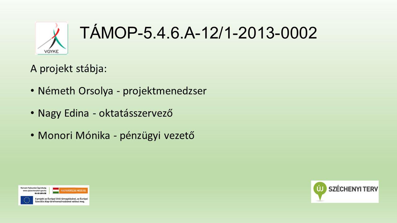 TÁMOP-5.4.6.A-12/1-2013-0002 A projekt stábja: Németh Orsolya - projektmenedzser Nagy Edina - oktatásszervező Monori Mónika - pénzügyi vezető