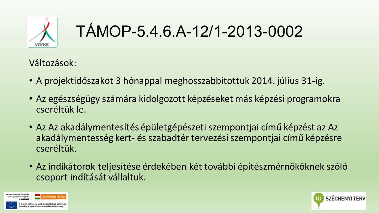 TÁMOP-5.4.6.A-12/1-2013-0002 Változások: A projektidőszakot 3 hónappal meghosszabbítottuk 2014.