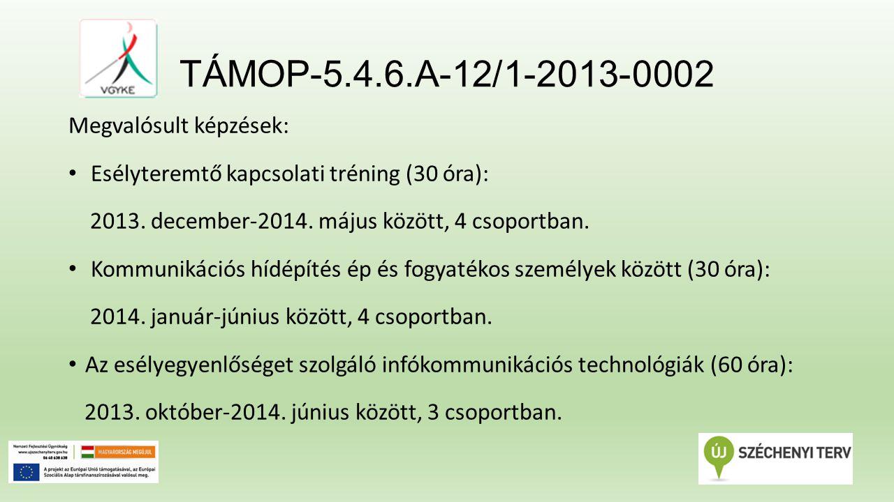 TÁMOP-5.4.6.A-12/1-2013-0002 Megvalósult képzések: Az akadálymentesség és egyetemes tervezés építészeti szempontjai, műszaki követelményei - Fókuszban a vak és gyengénlátó személyek speciális igényei (12 óra): 2014.