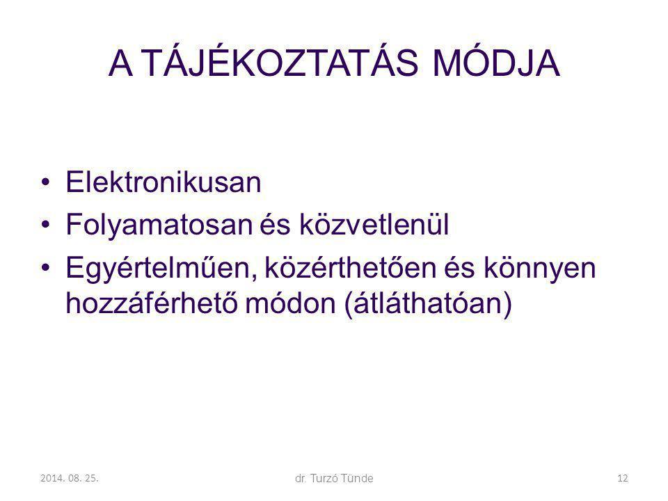 2014. 08. 25.dr. Turzó Tünde A TÁJÉKOZTATÁS MÓDJA Elektronikusan Folyamatosan és közvetlenül Egyértelműen, közérthetően és könnyen hozzáférhető módon