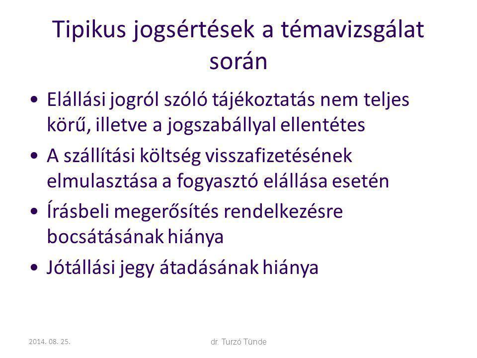 2014. 08. 25.dr. Turzó Tünde Tipikus jogsértések a témavizsgálat során Elállási jogról szóló tájékoztatás nem teljes körű, illetve a jogszabállyal ell