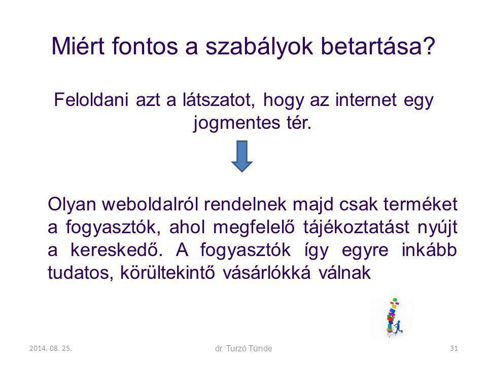 2014. 08. 25.dr. Turzó Tünde Miért fontos a szabályok betartása? Feloldani azt a látszatot, hogy az internet egy jogmentes tér. Olyan weboldalról rend