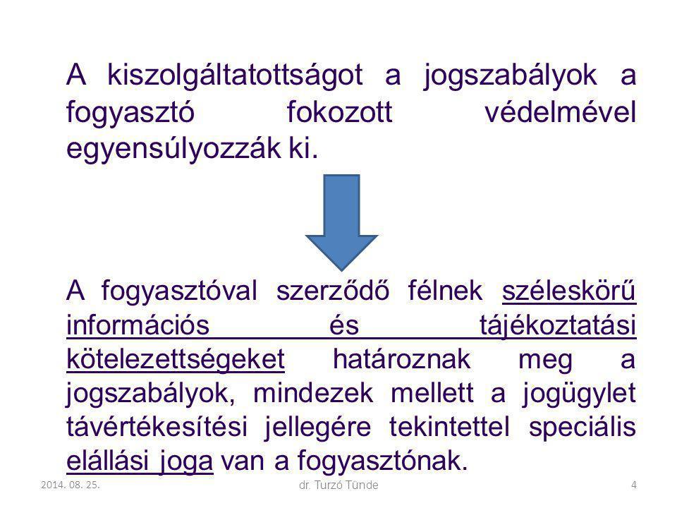 2014. 08. 25.dr. Turzó Tünde A kiszolgáltatottságot a jogszabályok a fogyasztó fokozott védelmével egyensúlyozzák ki. A fogyasztóval szerződő félnek s