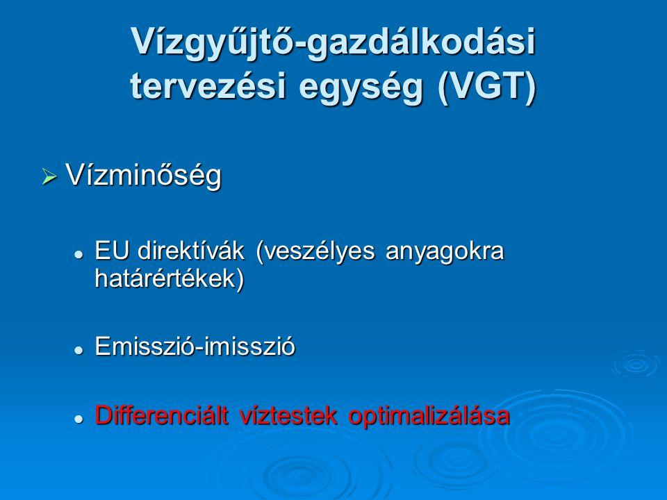  Vízminőség EU direktívák (veszélyes anyagokra határértékek) EU direktívák (veszélyes anyagokra határértékek) Emisszió-imisszió Emisszió-imisszió Dif