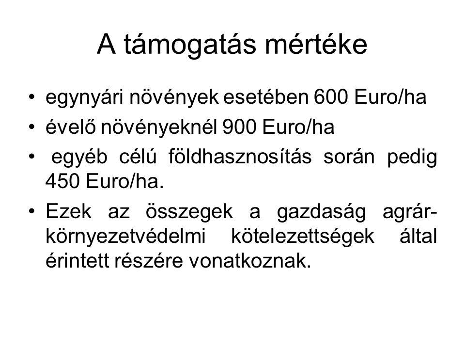 A támogatás mértéke egynyári növények esetében 600 Euro/ha évelő növényeknél 900 Euro/ha egyéb célú földhasznosítás során pedig 450 Euro/ha.