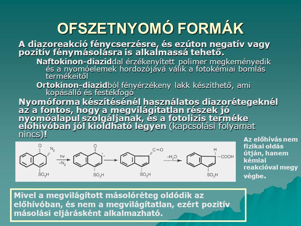 OFSZETNYOMÓ FORMÁK A diazoreakció fénycserzésre, és ezúton negatív vagy pozitív fénymásolásra is alkalmassá tehető. Naftokinon-diaziddal érzékenyített