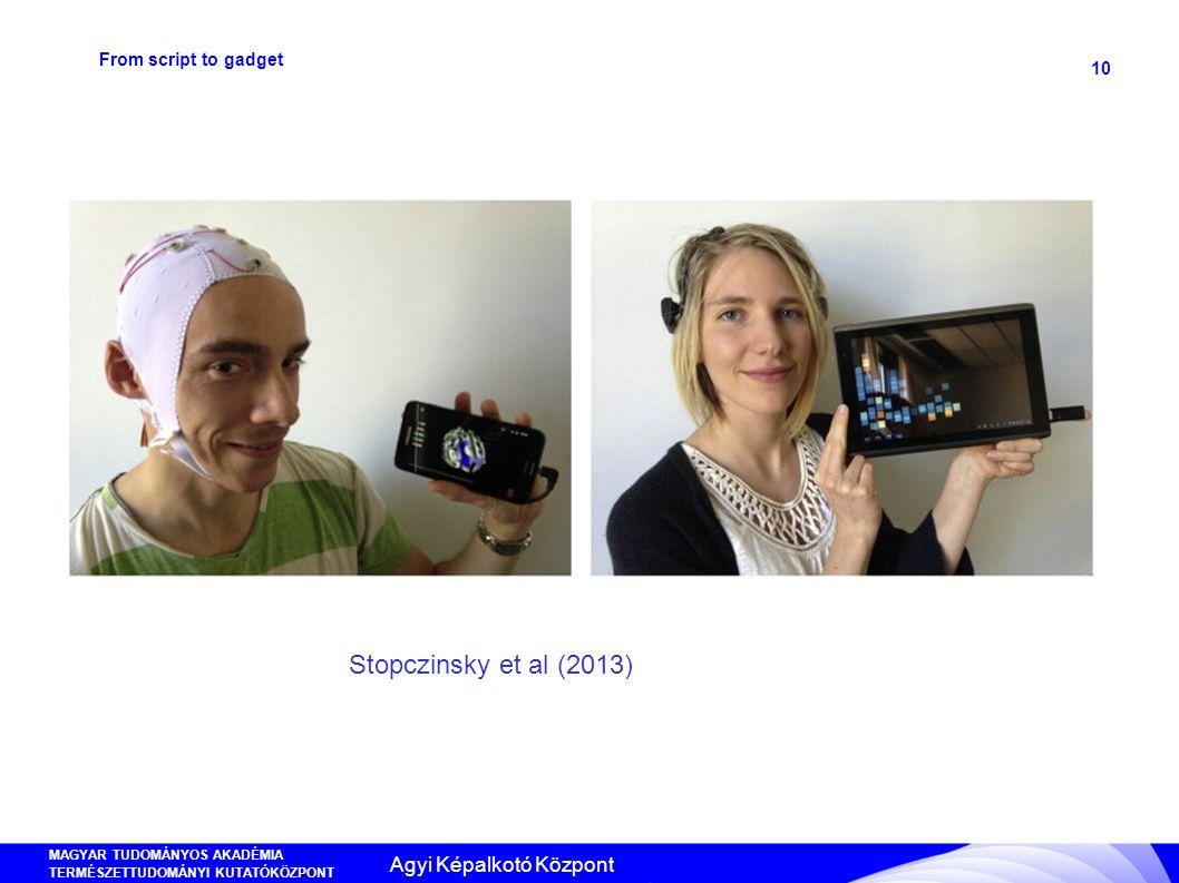 MAGYAR TUDOMÁNYOS AKADÉMIA TERMÉSZETTUDOMÁNYI KUTATÓKÖZPONT ANYAG- ÉS KÖRNYEZETKÉMIAI INTÉZET 10 From script to gadget Stopczinsky et al (2013) Agyi K