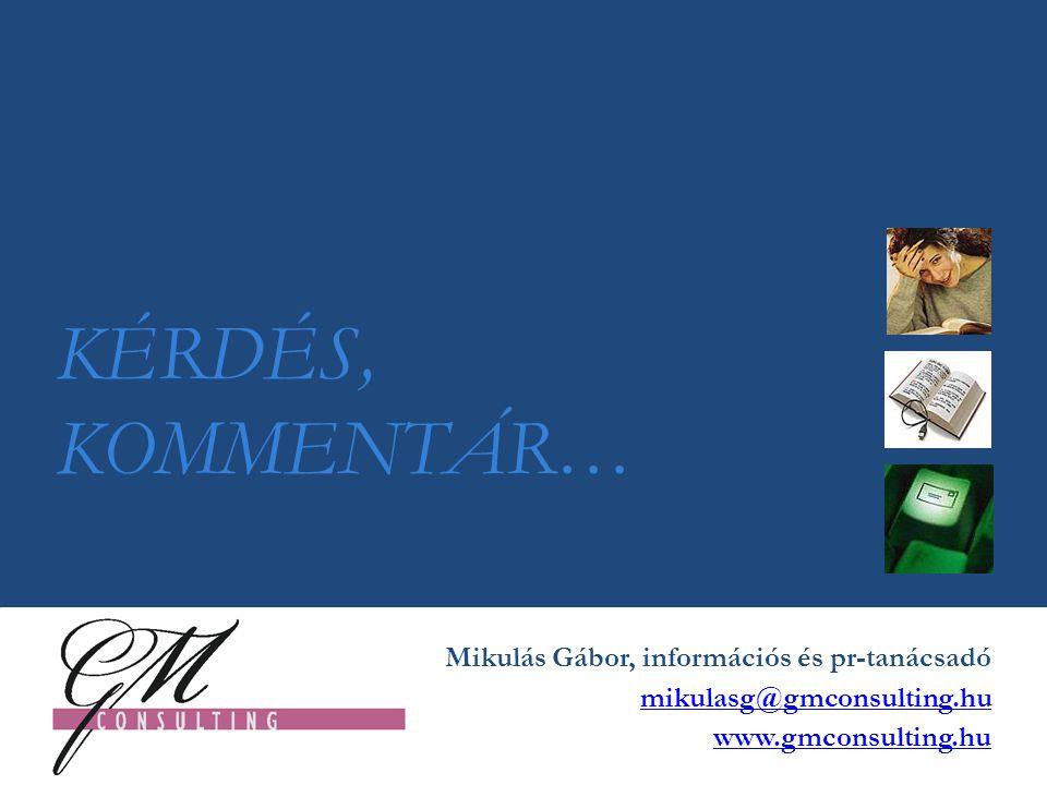 KÉRDÉS, KOMMENTÁR… Mikulás Gábor, információs és pr-tanácsadó mikulasg@gmconsulting.hu www.gmconsulting.hu