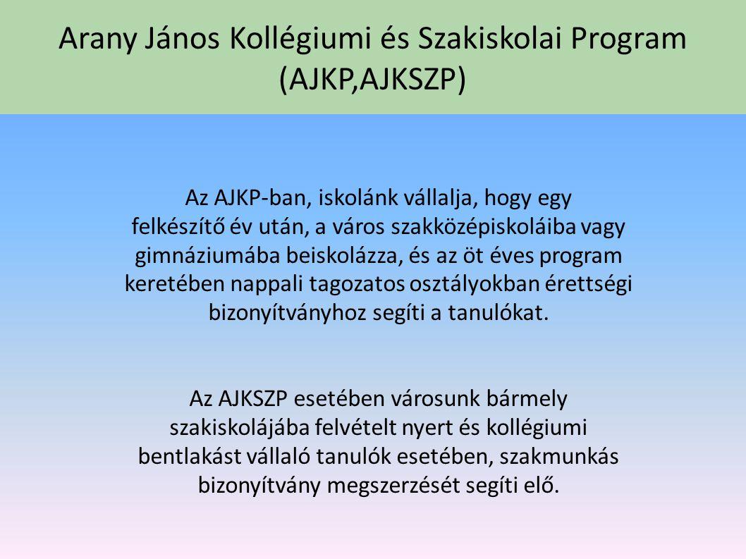 Arany János Kollégiumi és Szakiskolai Program (AJKP,AJKSZP) 2005-ben indult el intézményünkben a halmozottan hátrányos helyzetű tanulók Arany János Ko
