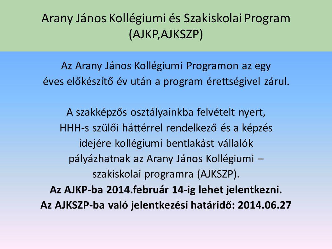 Arany János Kollégiumi és Szakiskolai Program (AJKP,AJKSZP) Az AJKP-ban, iskolánk vállalja, hogy egy felkészítő év után, a város szakközépiskoláiba va