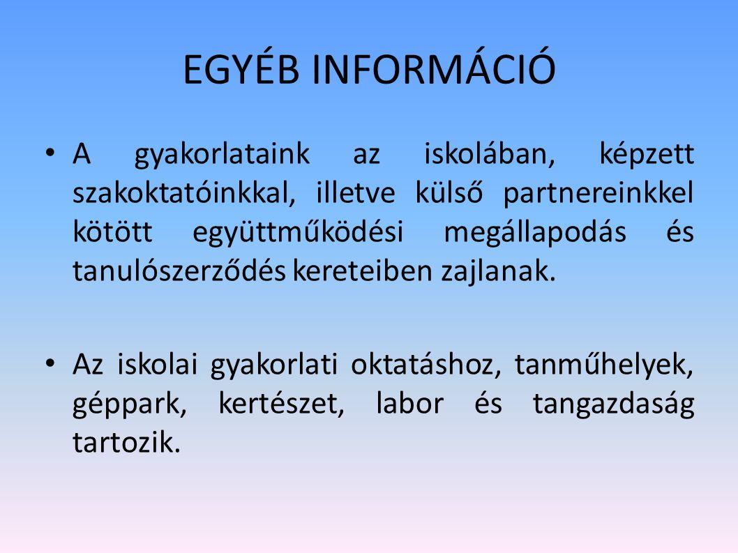 Felvételi követelmények Általános iskolai eredmények alapján rangsorolunk. Szakközépiskolában: magyar, matematika, történelem, idegen nyelv, biológia