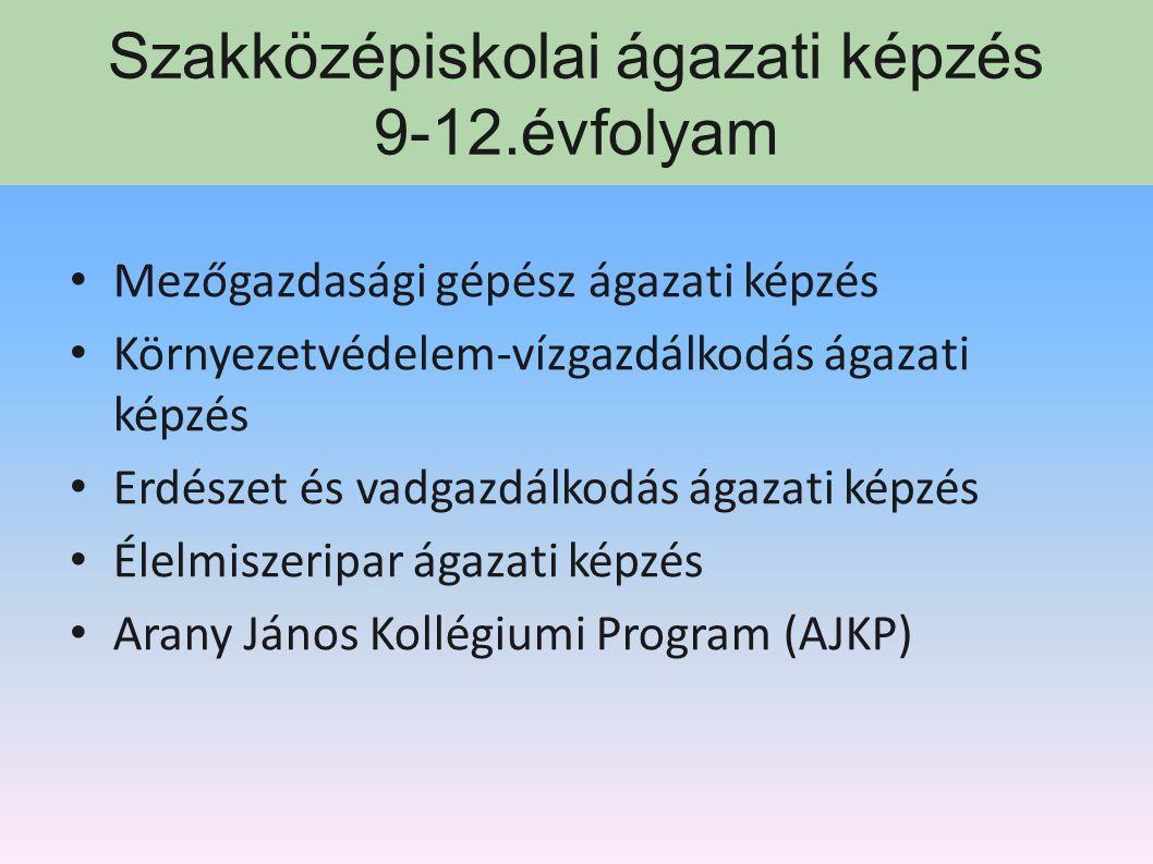 Széchenyi István Mezőgazdasági és Élelmiszeripari Szakképző Iskola OM: 202745 Szakközépiskolai ágazati képzés Mezőgazdasági gépész Környvéd- vízgazdál