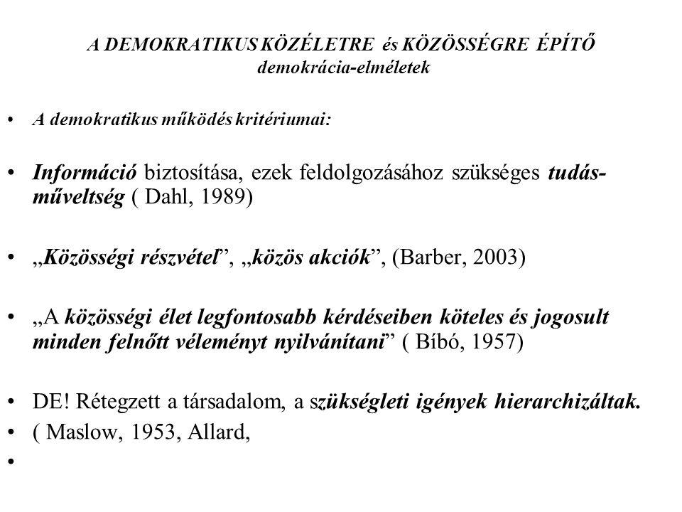 """A DEMOKRATIKUS KÖZÉLETRE és KÖZÖSSÉGRE ÉPÍTŐ demokrácia-elméletek A demokratikus működés kritériumai: Információ biztosítása, ezek feldolgozásához szükséges tudás- műveltség ( Dahl, 1989) """"Közösségi részvétel , """"közös akciók , (Barber, 2003) """"A közösségi élet legfontosabb kérdéseiben köteles és jogosult minden felnőtt véleményt nyilvánítani ( Bíbó, 1957) DE."""