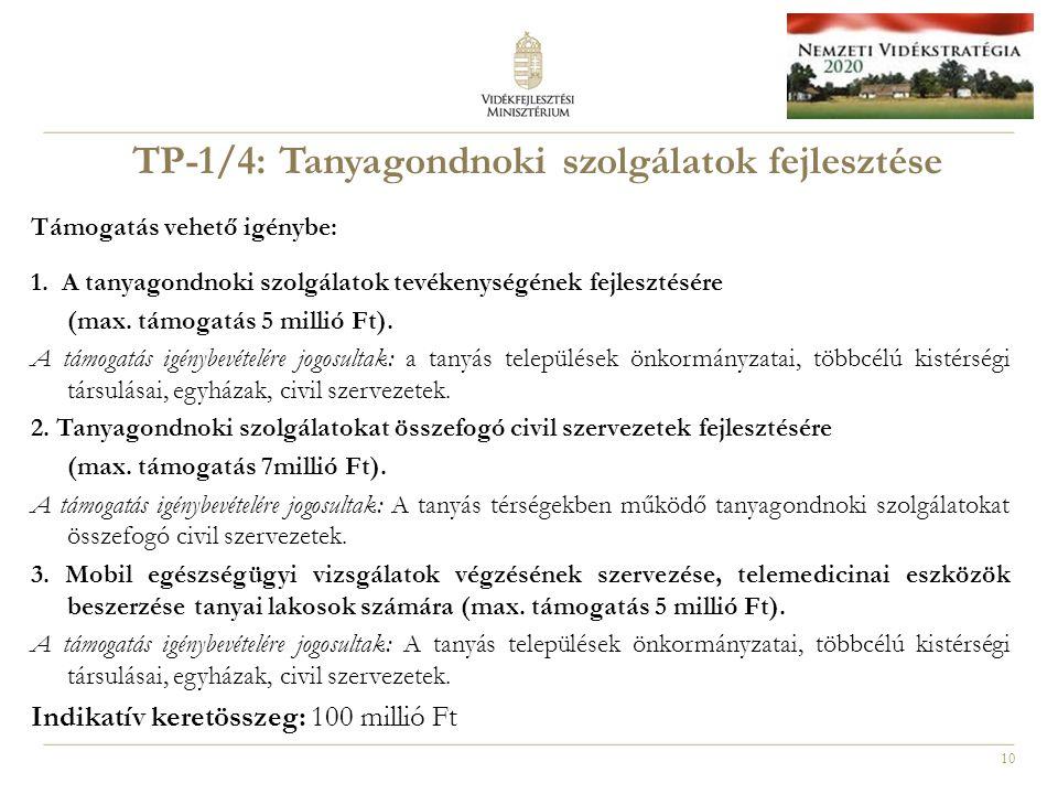 10 TP-1/4: Tanyagondnoki szolgálatok fejlesztése Támogatás vehető igénybe: 1.