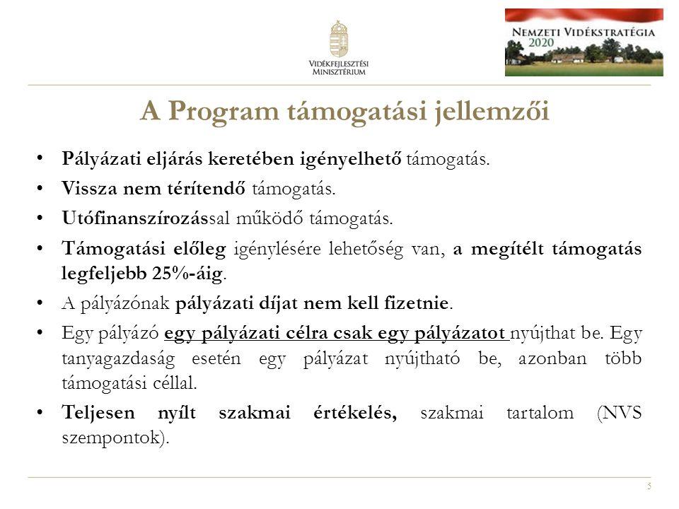 5 A Program támogatási jellemzői Pályázati eljárás keretében igényelhető támogatás.