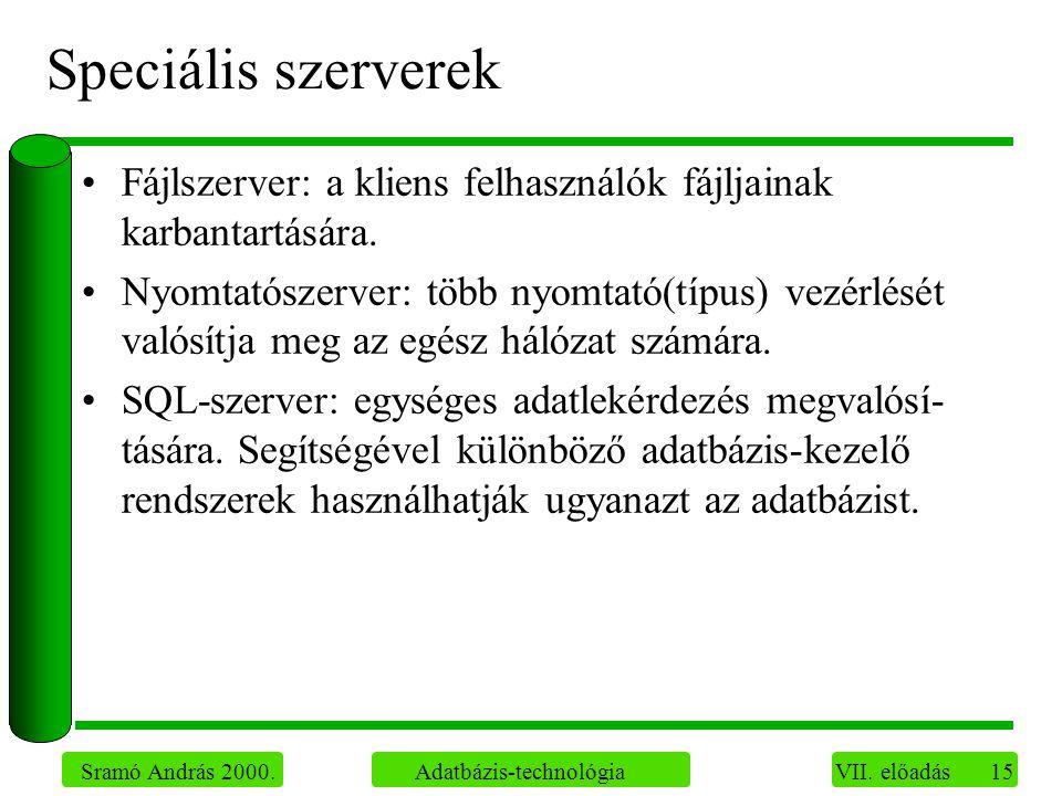 15 Sramó András 2000. Adatbázis-technológia VII.