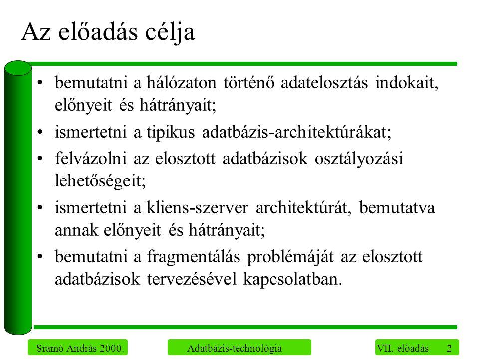 2 Sramó András 2000. Adatbázis-technológia VII.