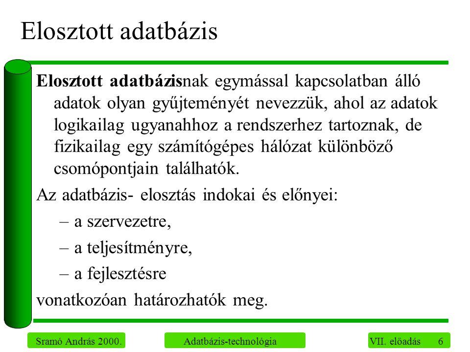 6 Sramó András 2000. Adatbázis-technológia VII.