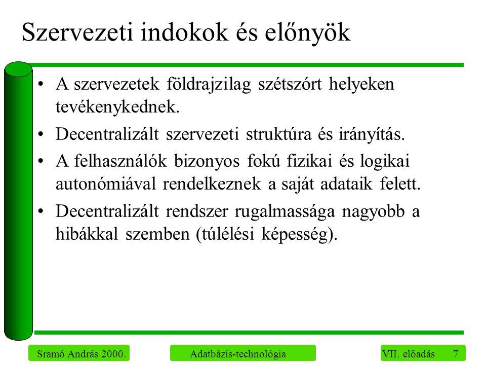 18 Sramó András 2000.Adatbázis-technológia VII. előadás Elosztott adatbázis-rendszerek típusai II.