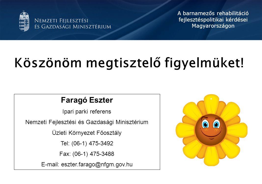 A barnamezős rehabilitáció fejlesztéspolitikai kérdései Magyarországon Faragó Eszter Ipari parki referens Nemzeti Fejlesztési és Gazdasági Minisztériu