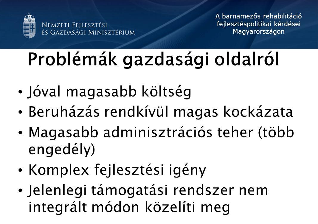 A barnamezős rehabilitáció fejlesztéspolitikai kérdései Magyarországon Problémák gazdasági oldalról Jóval magasabb költség Beruházás rendkívül magas k