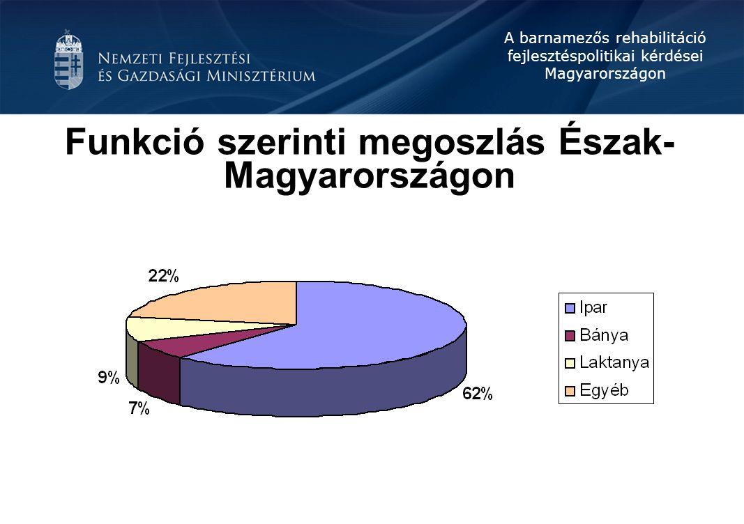 A barnamezős rehabilitáció fejlesztéspolitikai kérdései Magyarországon Funkció szerinti megoszlás Észak- Magyarországon