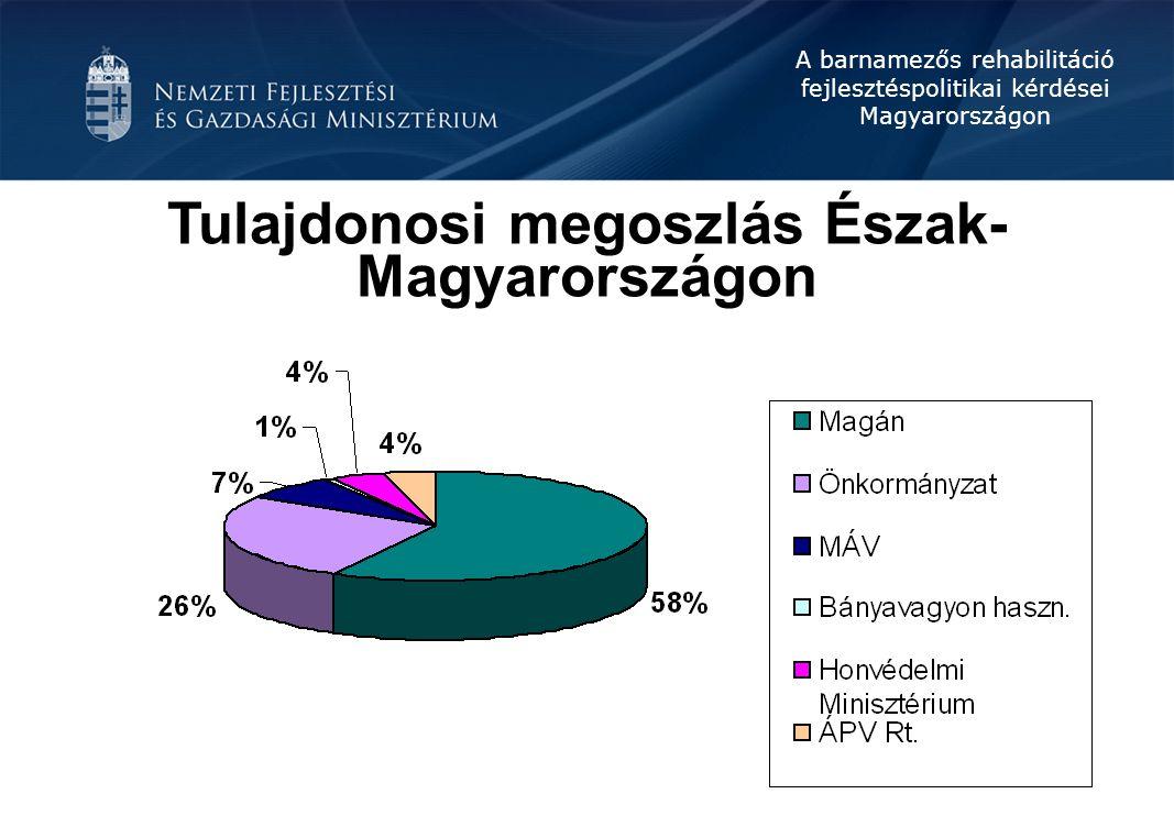 A barnamezős rehabilitáció fejlesztéspolitikai kérdései Magyarországon Dél-Dunántúl régió Összesen 2.000 ha barnamező.