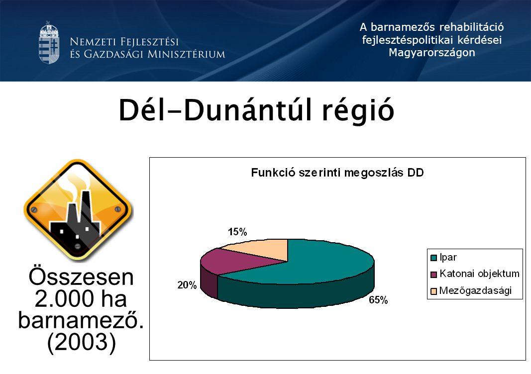 A barnamezős rehabilitáció fejlesztéspolitikai kérdései Magyarországon Dél-Dunántúl régió Összesen 2.000 ha barnamező. (2003)