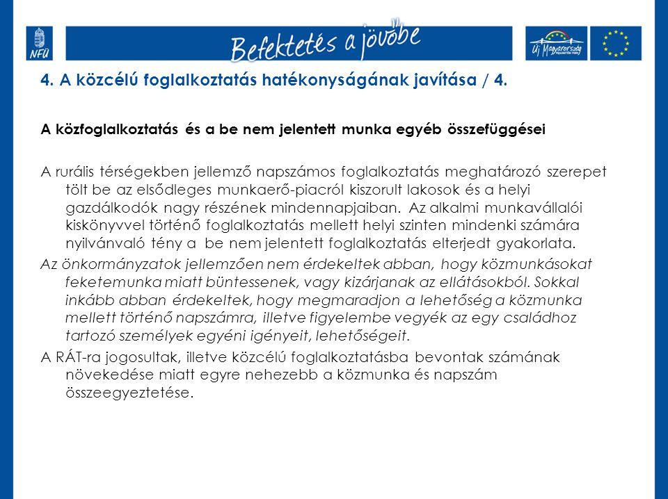 4. A közcélú foglalkoztatás hatékonyságának javítása / 4.
