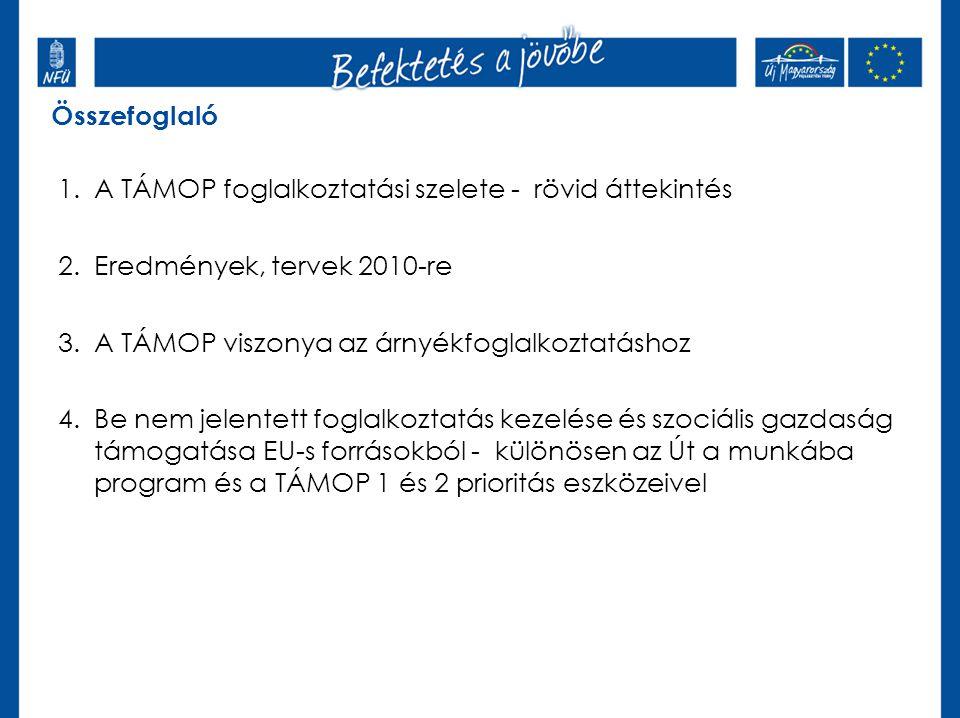 Összefoglaló 1.A TÁMOP foglalkoztatási szelete - rövid áttekintés 2.Eredmények, tervek 2010-re 3.A TÁMOP viszonya az árnyékfoglalkoztatáshoz 4.Be nem jelentett foglalkoztatás kezelése és szociális gazdaság támogatása EU-s forrásokból - különösen az Út a munkába program és a TÁMOP 1 és 2 prioritás eszközeivel