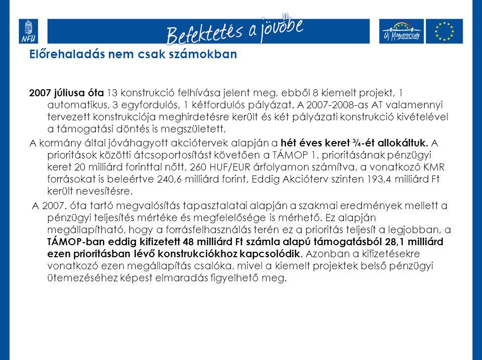 Előrehaladás nem csak számokban 2007 júliusa óta 13 konstrukció felhívása jelent meg, ebből 8 kiemelt projekt, 1 automatikus, 3 egyfordulós, 1 kétfordulós pályázat.